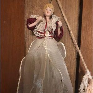 Handmade vintage Victorian doll ornament